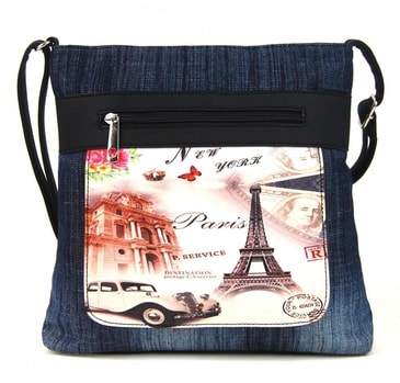 08519ab830816 Riflová tmavě modrá dámská crossbody kabelka s černými doplňky H1725