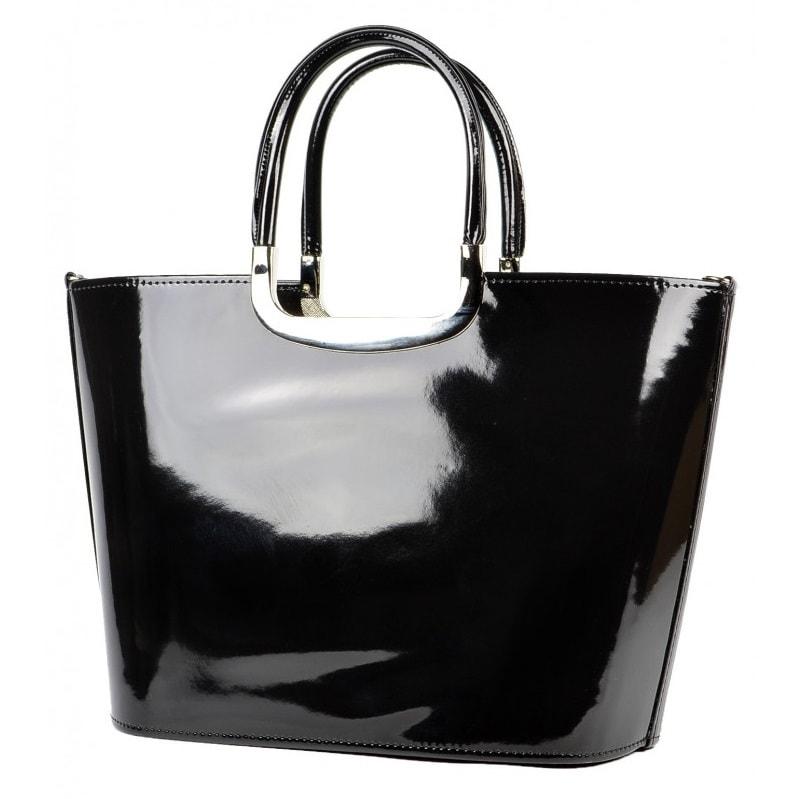 8afcc23429 ... Luxusní kabelka S7 černá lakovaná ...