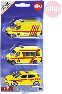 Auta žlutá Ambulance ČR set 3ks model kov blister 1825