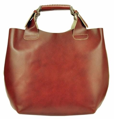 868a3d209f Velká hnědá kožená dámská shopper kabelka
