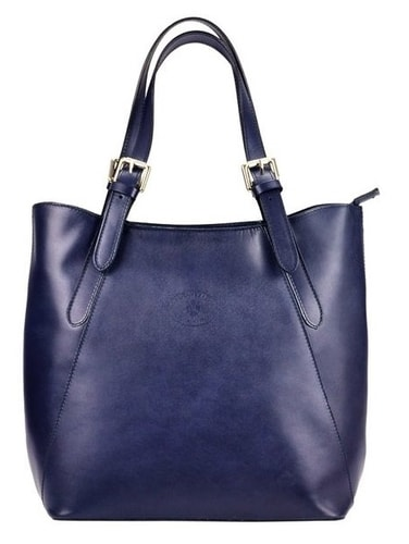 136a008dfee0 Velká modrá kožená dámská kabelka přes rameno