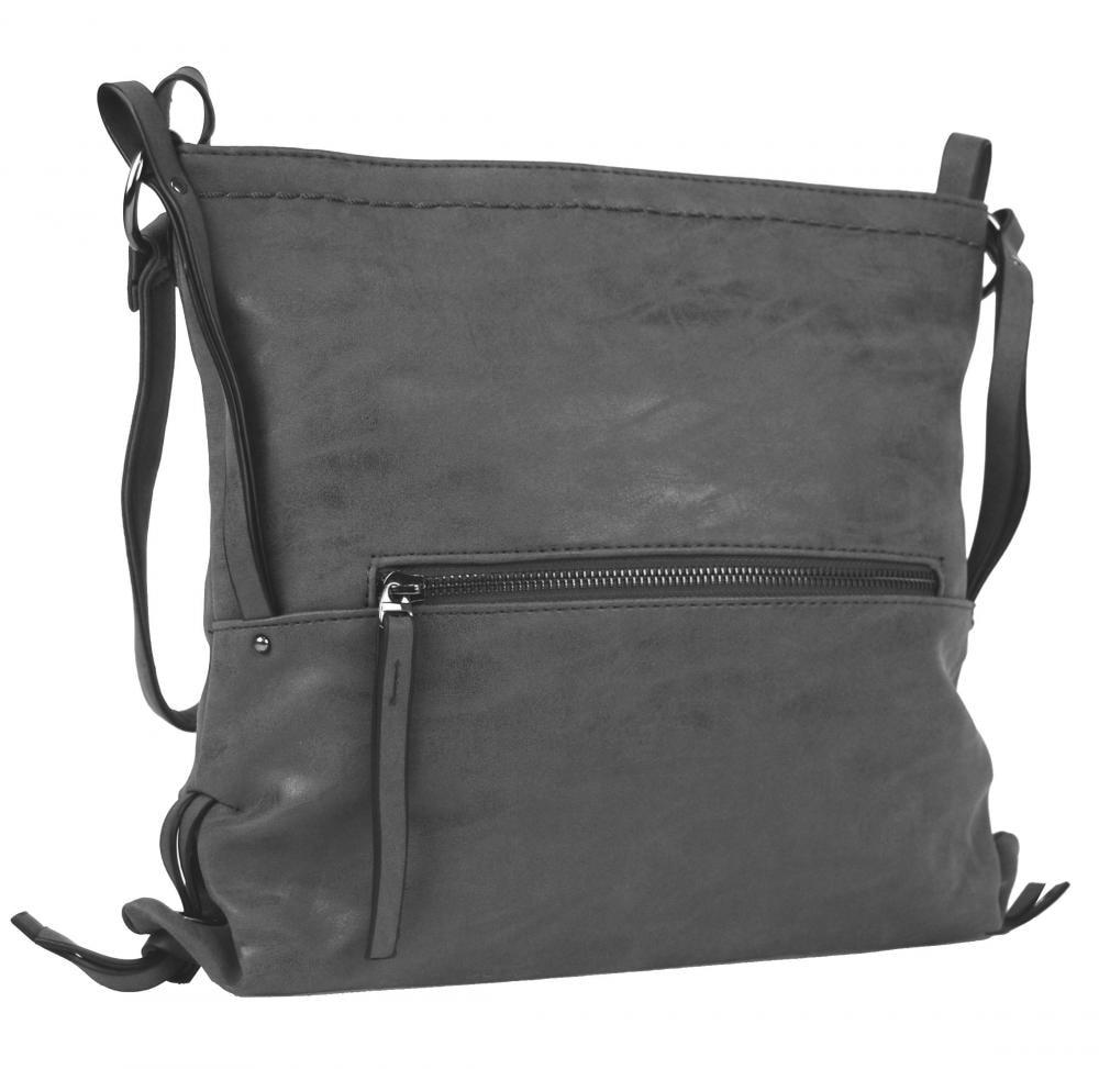 04ff13036b Dámská crossbody kabelka z broušené kůže 165B-6 nová šedá ...