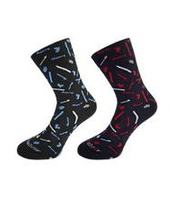 Formal socks with pattern and silver SKI - small theme