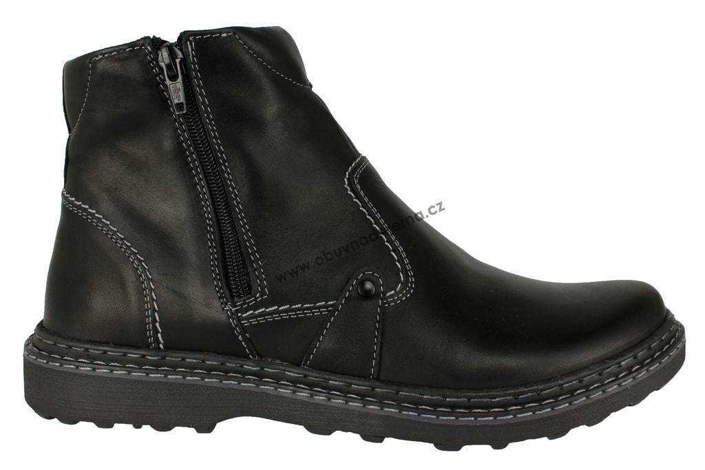 7f98deb486 Kotníkové zimní boty Effe Tre na zip černé. Kožené ...