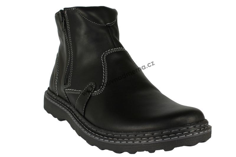 993b4ebdfc Kotníkové zimní boty Effe Tre na zip černé - Zimní
