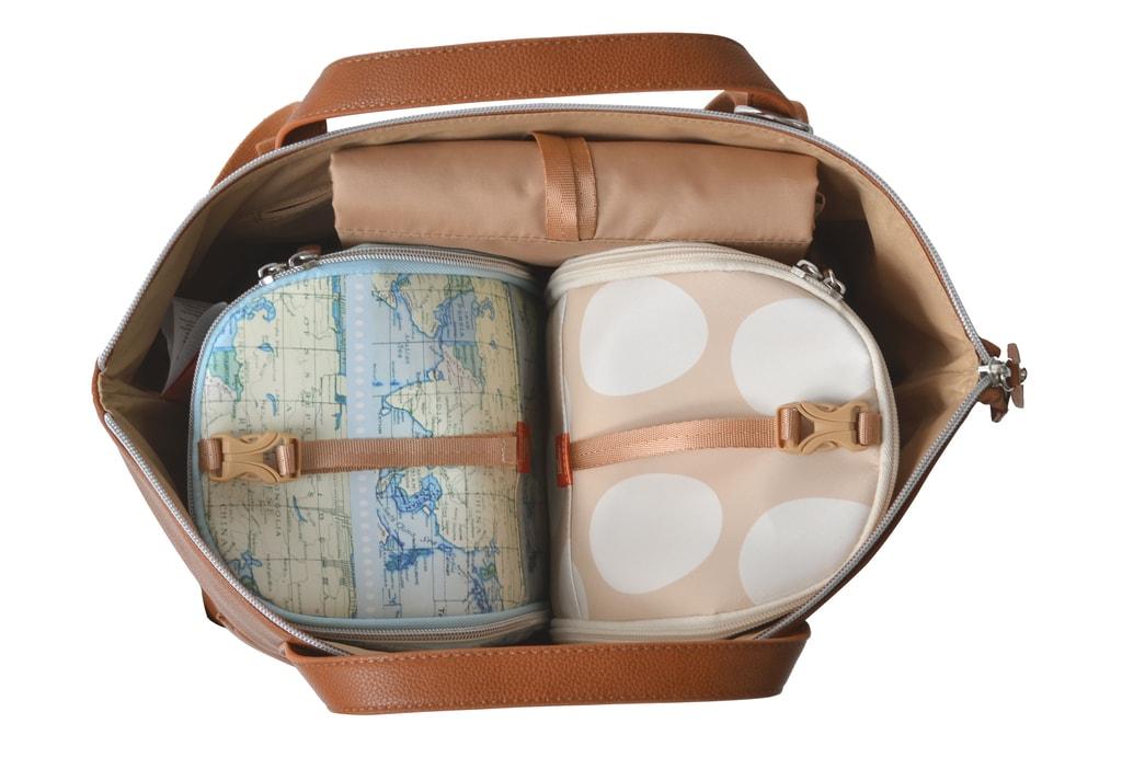 SAUNTON hnědá - přebalovací taška