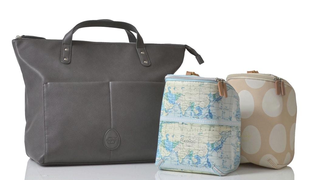 SAUNTON šedá - přebalovací taška i batoh