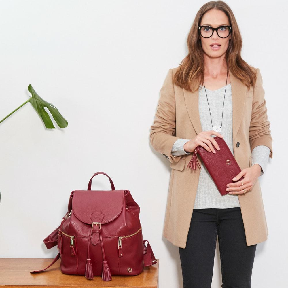 THOR OXBLOOD - kožený přebalovací batoh
