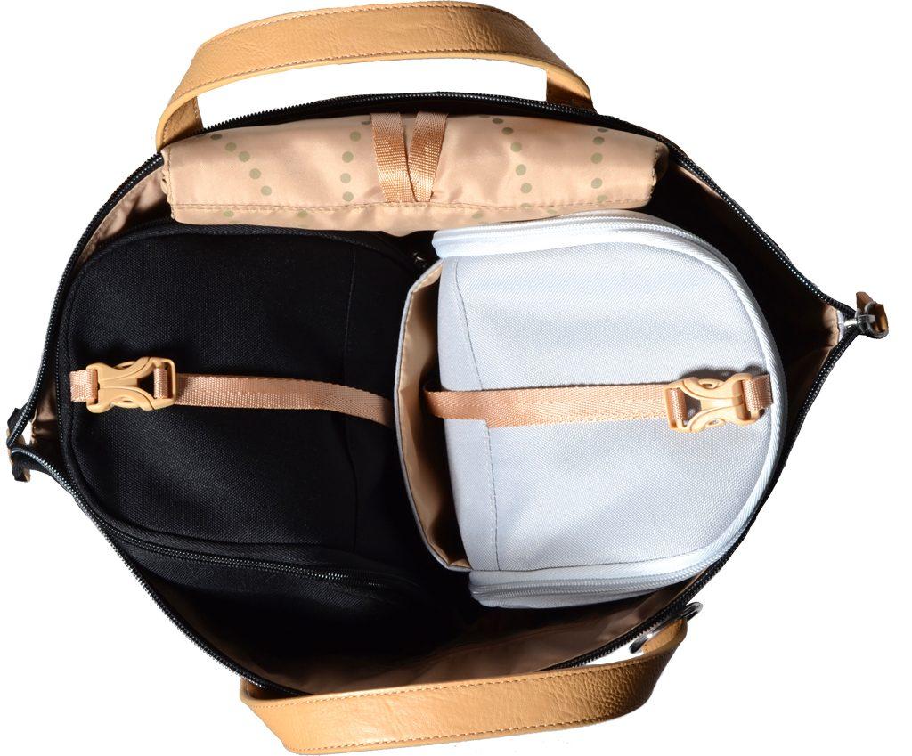 SAUNTON modrá rybí kost - přebalovací taška i batoh