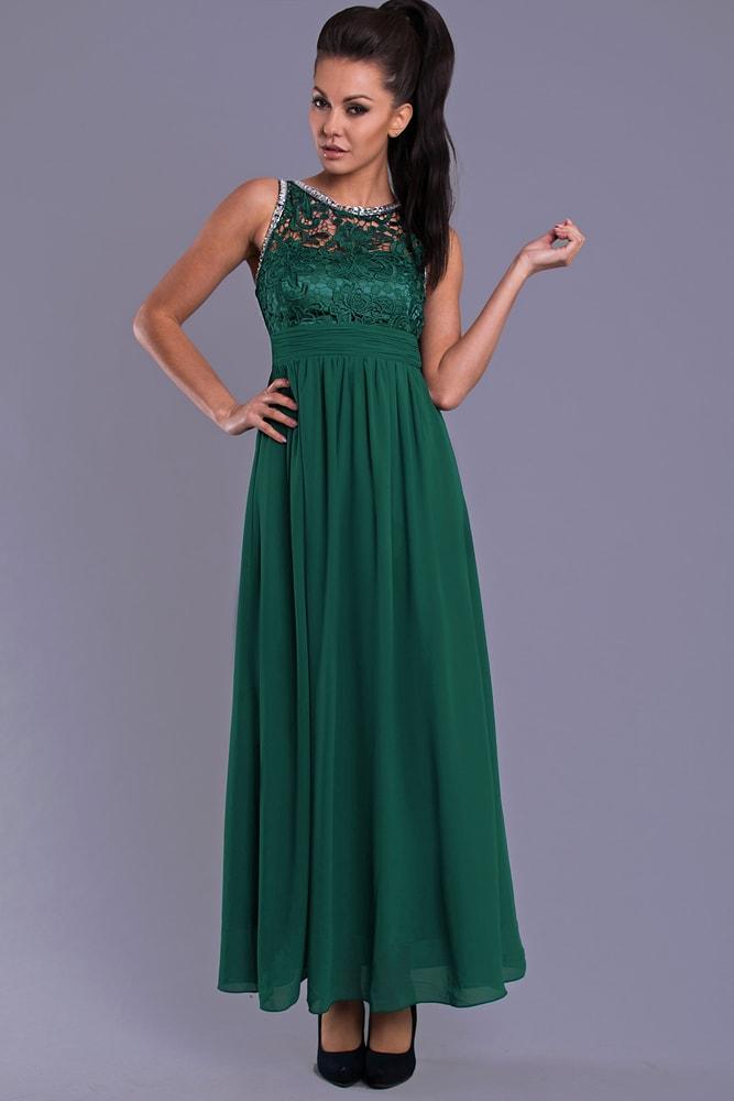 873f452e47f3 Eva Lola Elegantní dlouhé plesové šaty zelené - M