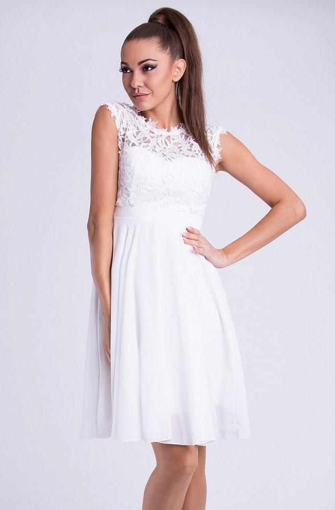 1e746c9bc Emamoda Krátké společenské šaty s krajkovým vrškem bílé - L