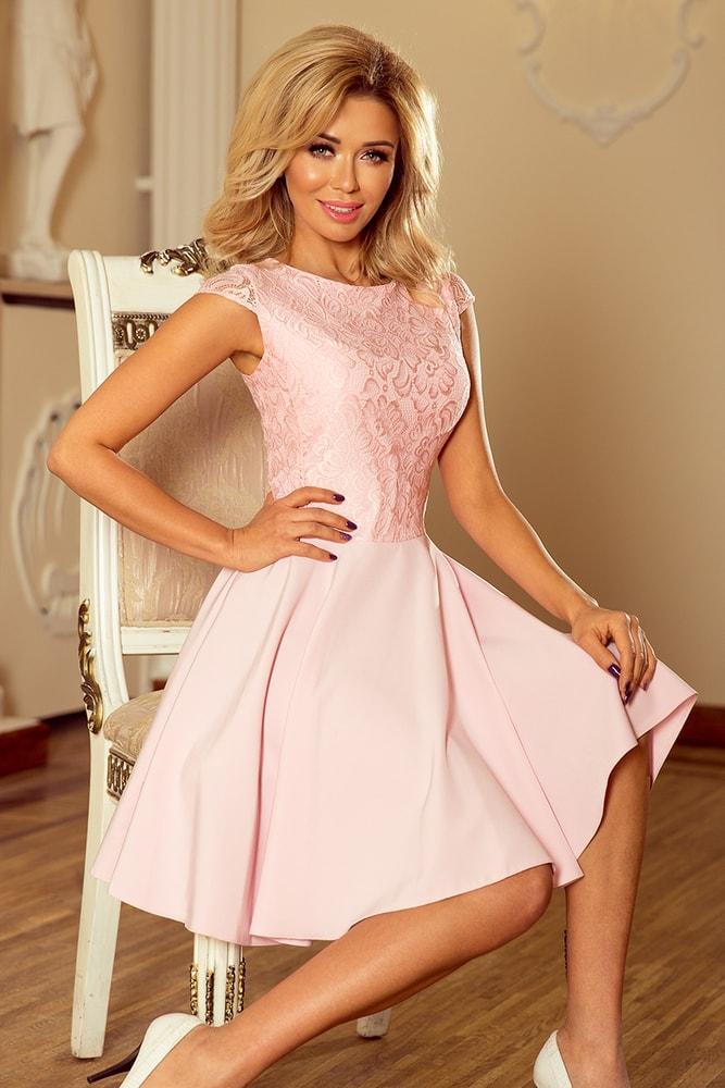 d1df56ceb4c8 Numoco Šaty s krajkou světle růžové - XXL