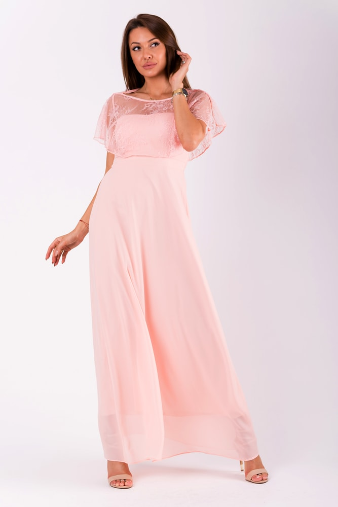f4ab4b288300 Eva Lola Pudrově růžové šaty s krajkovým volánem - S