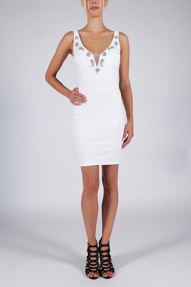 236e2b934238 Soky Soka Bílé pouzdrové společenské šaty - L