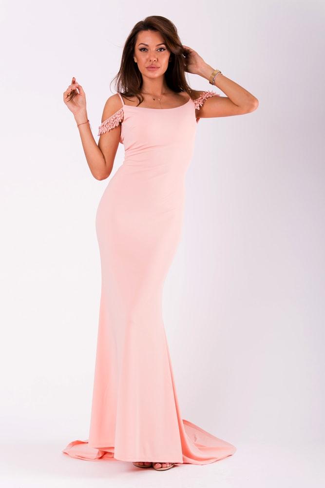f2006c4cc594 Eva Lola Dlouhé přiléhavé šaty růžové - L