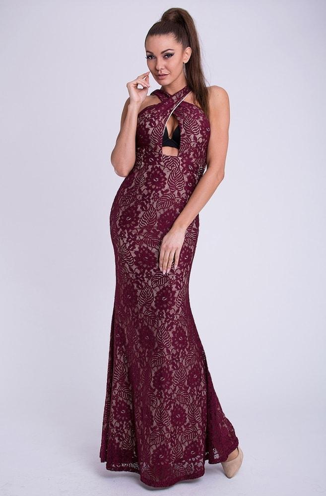 0982cec4c441 Emamoda Dámské dlouhé krajkové šaty vínové - L