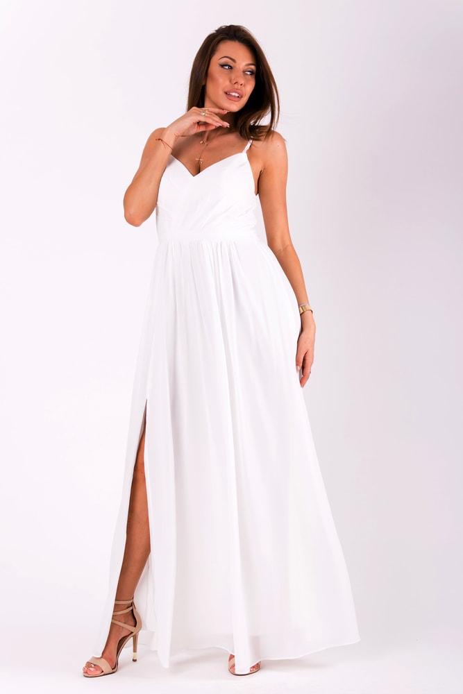 3abef8b7e5ce Eva Lola Dlouhé plesové jednoduché šaty bílé - M