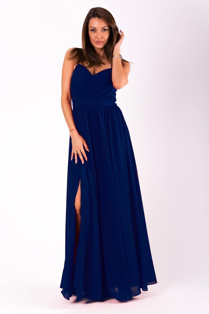 089294e3a277 Eva Lola Dlouhé plesové jednoduché šaty modré - M
