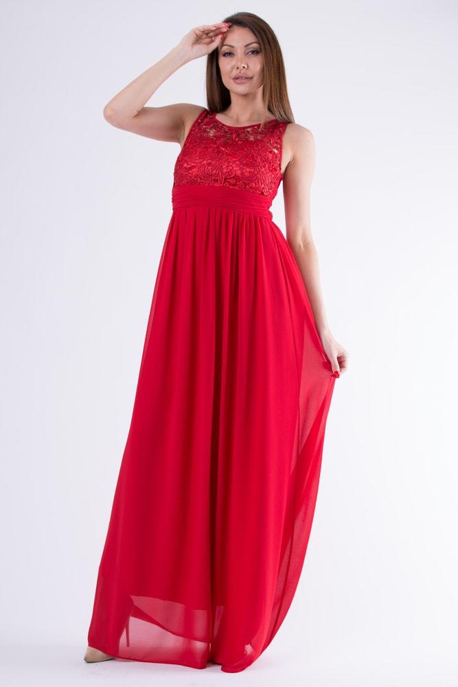 af07e8b01e0c Eva Lola Červené večerní šaty s krajkou - M