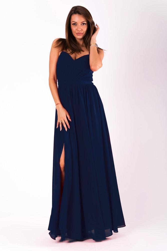 e8dd8eed822f Eva Lola Dlouhé plesové jednoduché šaty tmavě modré - L
