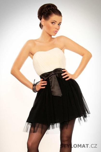 0730bd88f Dámské elegantní černo-bílé krátké tylové šaty s mašlí - Drole le Copine -  Party a koktejlové šaty