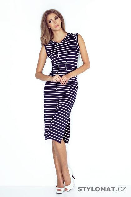 3a5b436fb20f Dlouhé šaty s kapucí v námořnickém stylu - Numoco - Dlouhé letní šaty