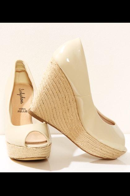 352eda07e9a7 Krémové střevíce na lýčené platformě - Sinly Shoes - Lodičky