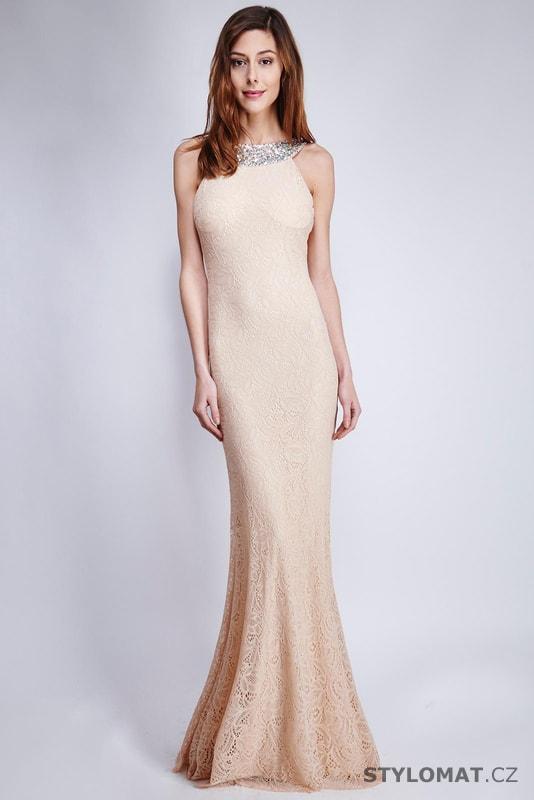 5b7c7ea15b79 Krajkové elegantní šaty béžové - Soky Soka - Dlouhé společenské šaty