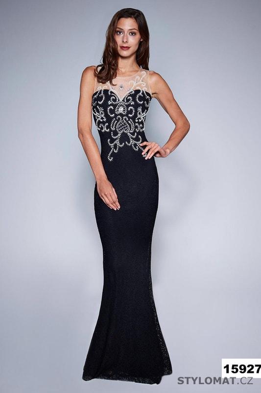 87232acee0d6 Krajkové šaty s aplikací černé - Soky Soka - Dlouhé společenské šaty