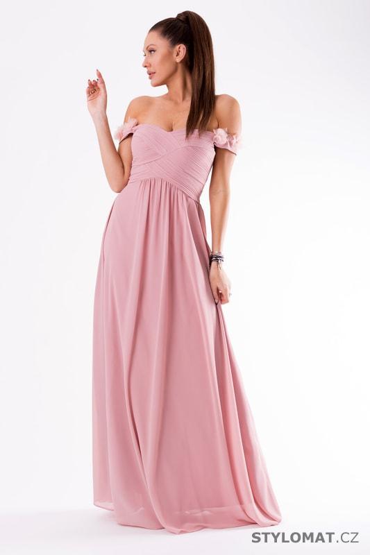 1ec2366455be Večerní šaty se spadlými rameny fialové - Eva Lola - Dlouhé společenské šaty