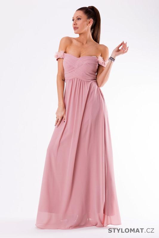 e516ad9835c3 Večerní šaty se spadlými rameny fialové - Eva Lola - Dlouhé ...