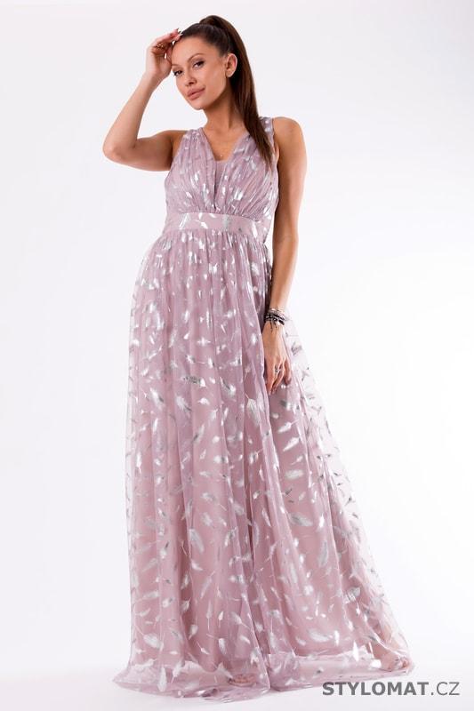 1dbf96b1d409 Fialové večerní šaty s peříčky - Eva Lola - Dlouhé společenské šaty