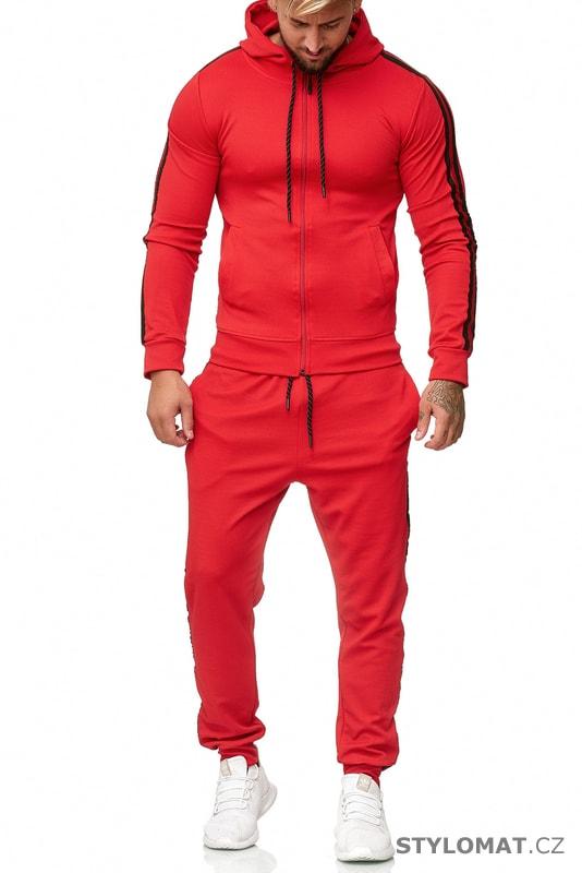 8337be669568 Pánská tepláková souprava s pruhy červená - Redox - Sportovní oblečení