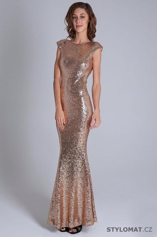 1bcf63666363 Flitrované šaty s krátkými rukávy zlaté - Soky Soka - Dlouhé ...