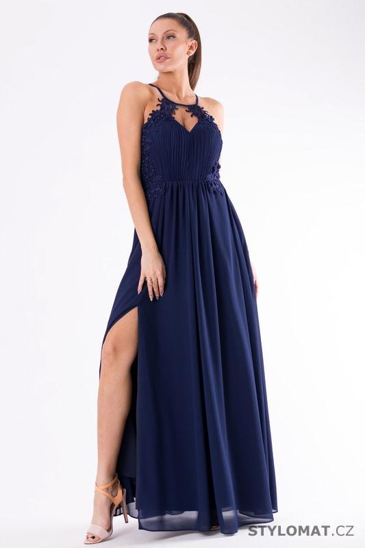7454e1f32e20 Romantické večerní šaty tmavě modré - Eva Lola - Dlouhé společenské šaty