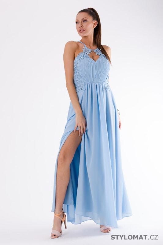151268ca91ed Romantické večerní šaty modré - Eva Lola - Dlouhé společenské šaty