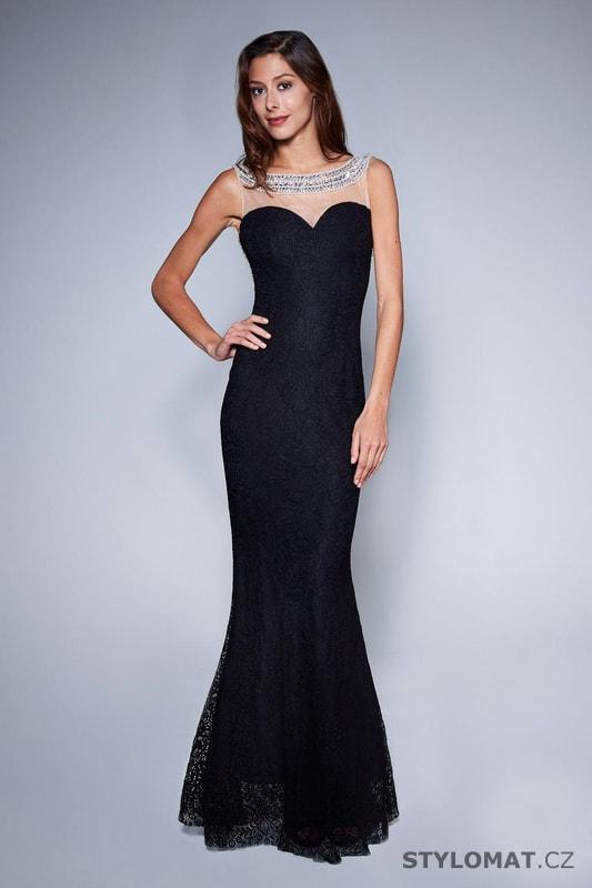 e6c9c62e94d0 Večerní šaty s holými zády černé - Soky Soka - Dlouhé společenské šaty