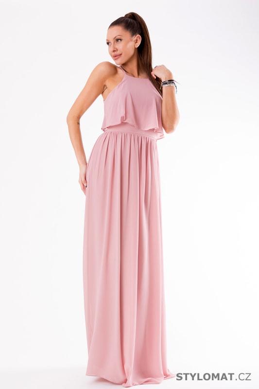 1af3ea965852 Večerní maxi šaty s volánem růžové - Eva Lola - Dlouhé společenské šaty