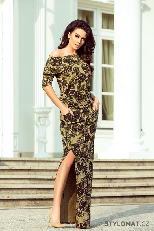 c2b426a86b07 Sportovní maxi šaty s rozparkem khaki - Numoco - Dlouhé letní šaty