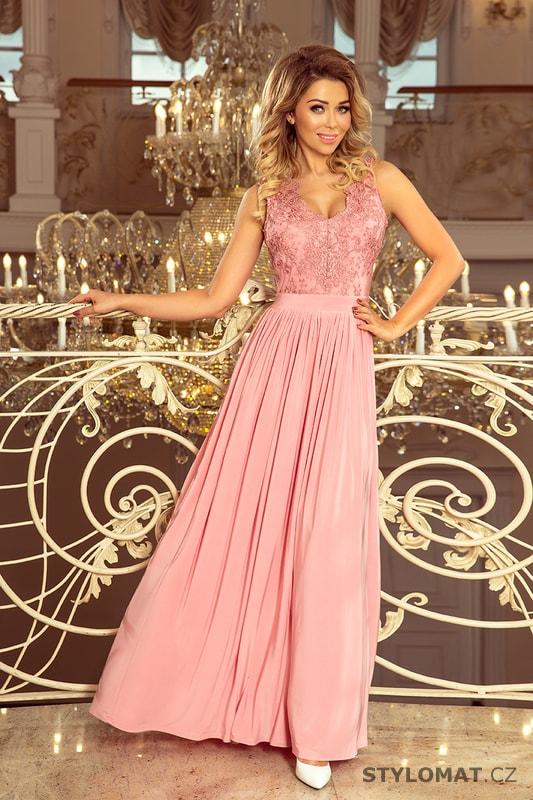 387c7f3d86f9 Dlouhé šaty bez rukávů s vyšívaným výstřihem růžové - Numoco - Dlouhé  společenské šaty