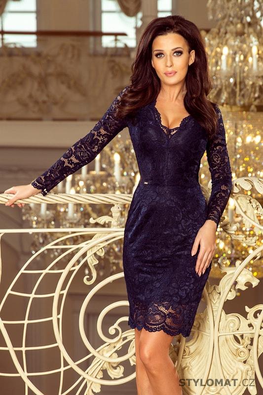 2ce393be832a Krajkové šaty s dlouhým rukávem a výstřihem tmavě modré - Numoco - Krátké  společenské šaty