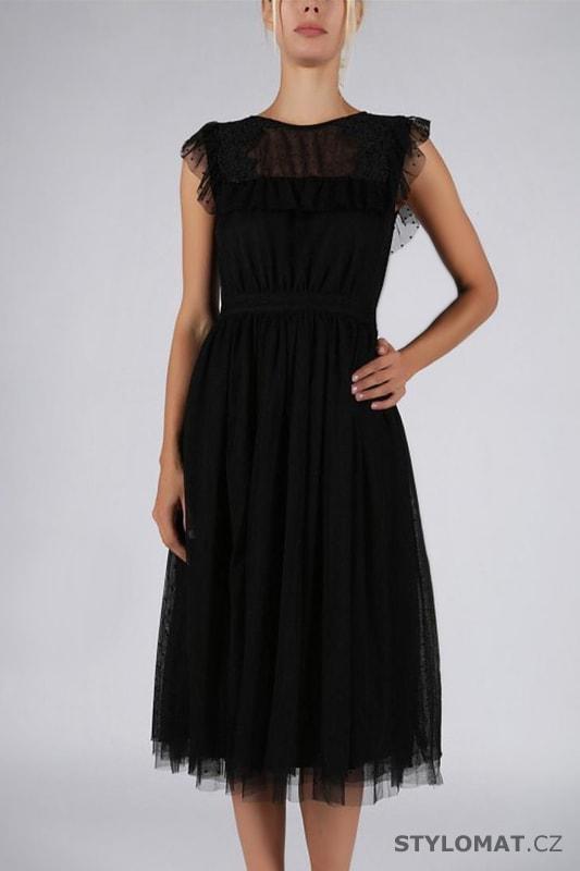0cfd1a4bb7ec Romantické šaty s volánem černé - Soky Soka - Krátké společenské šaty