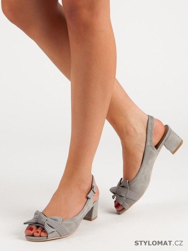 f72d64f30bea Semišové sandály s mašlí šedé - Filippo - Sandále