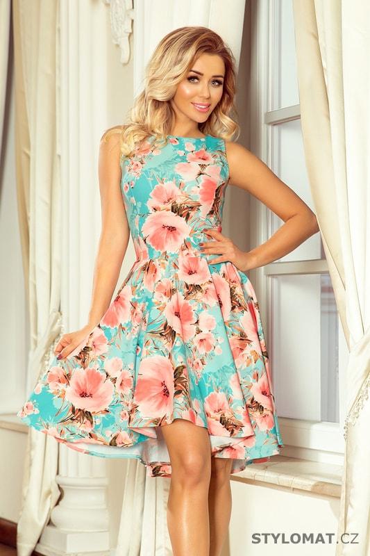 886a77efff9b Asymetrické květované šaty tyrkysové - Numoco - Krátké společenské šaty
