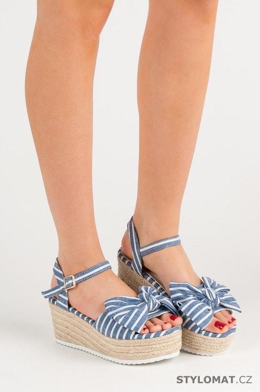 b9ce9436d622 Sandály na klínu s mašlí modré - SEASTAR - Sandále