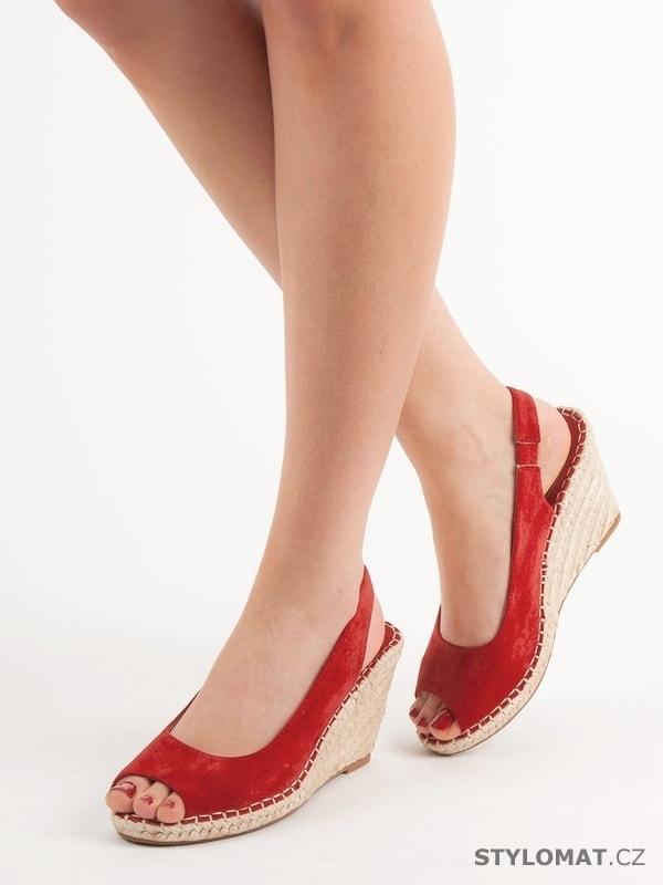 16b6a49a8adc Espadrile sandály na klínu červené - SEASTAR - Sandále
