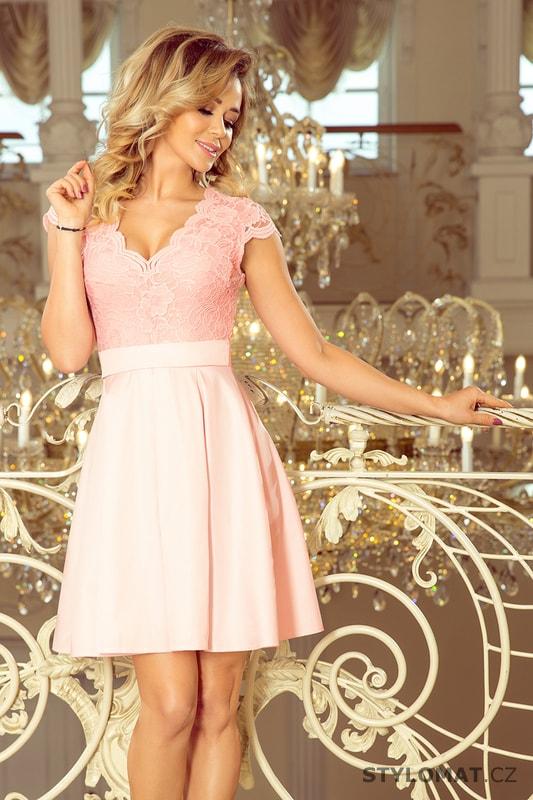 56ac9e18f Šaty s výstřihem a krajkou pastelově růžové - Numoco - Krátké společenské  šaty