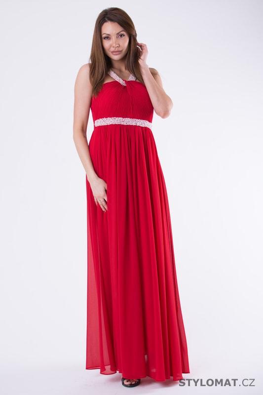 567ccda954 Večerní šaty s perličkami červené - Eva Lola - Šaty