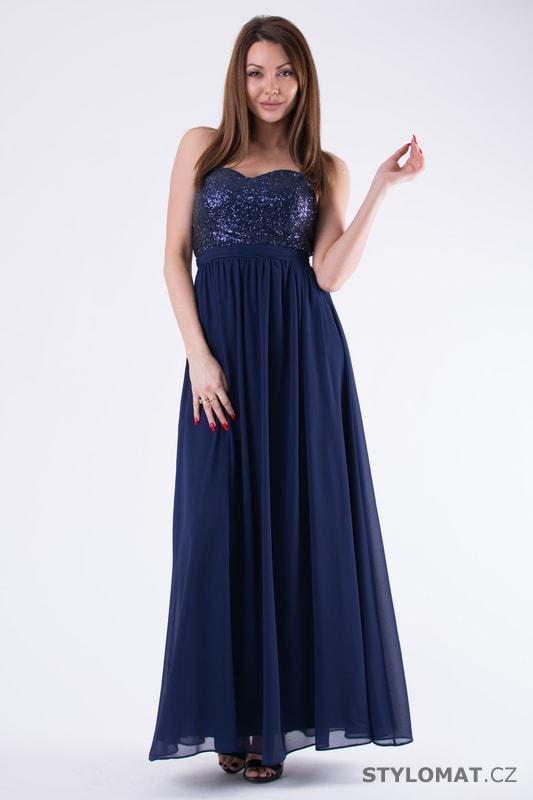 a034f8bff611 Flitrované šaty bez ramínek modré - Eva Lola - Dlouhé společenské šaty