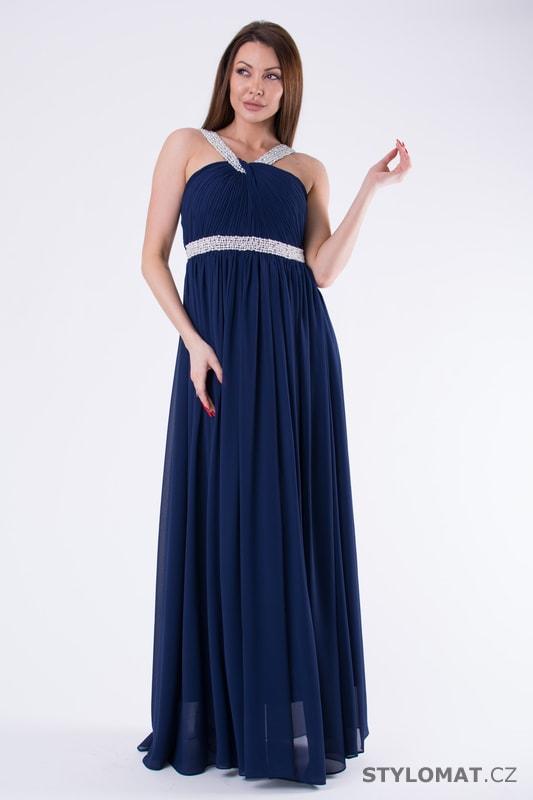 56e9502a7d Večerní šaty s perličkami modré - Eva Lola - Šaty